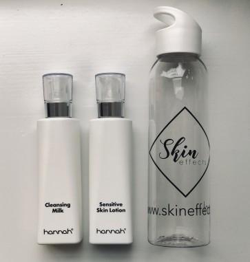 Duo-aanbieding: Hannah Cleasing milk (200ml) en Hannah sensitive skin lotion (200ml) met gratis Waterfles